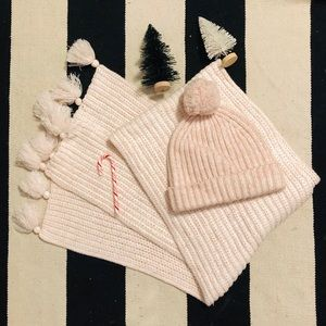 J. Crew pink heather hat and scarf